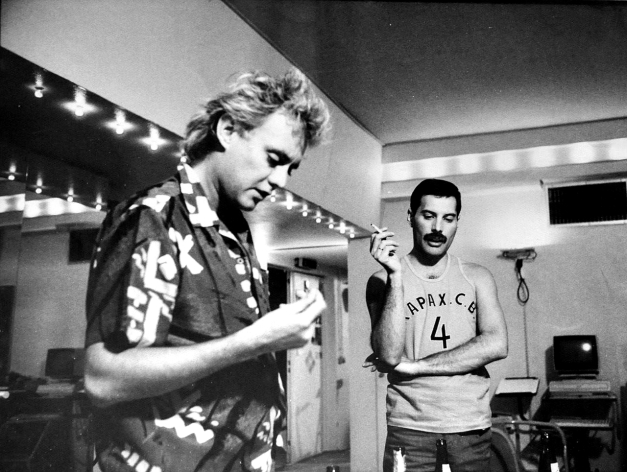 Freddie and Roger in Musicland Studio 1985